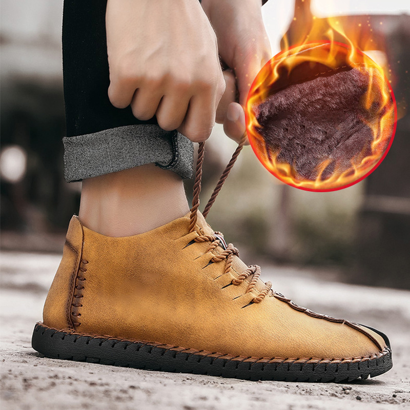 그녀 ERA 2018 새로운 따뜻한 겨울 남성 부츠 고품질 부드러운 가죽 캐주얼 남자 신발 모피 패션 부츠 플러스 사이즈 38 48-에서기본 부츠부터 신발 의  그룹 2