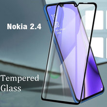 Capa completa cola completa vidro temperado para nokia 2.4 protetor de tela película protetora para nokia 2.4 vidro