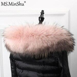 Image 3 - さん minShu ビッグ毛皮の襟本物のアライグマの毛皮フードトリムスカーフ黒色パーカーコートの毛皮の襟スカーフカスタムメイド