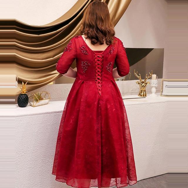 Formal Prom Gowns Dresses Burgundy Women Party Night 2019 Half-sleeve Plus Size Vestidos De Gala O-neck Sequin Prom Dresses T093