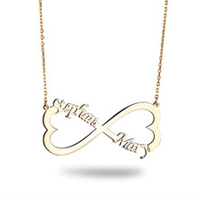 цена на Personalized Double Name Necklace Gold Heart Shaped Infinite Necklace For Women Bridesmaid Gift Heart Pendant Chokers BFF
