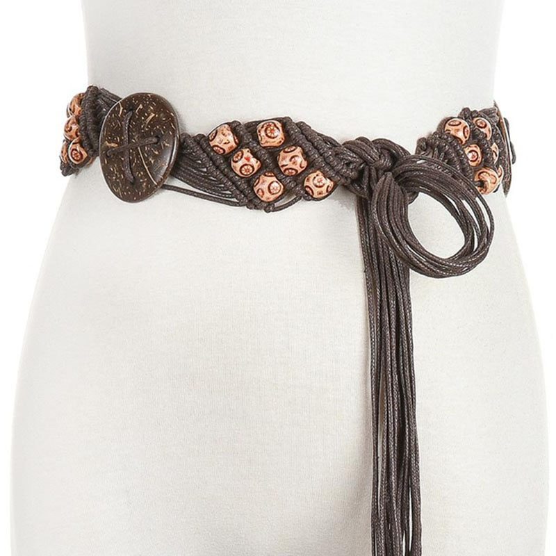 Ethnic Style Wax Rope Woven Beach Bohemian Ladies Thin Rope Flower Plant Knit Belt Ladies Dress Coffee