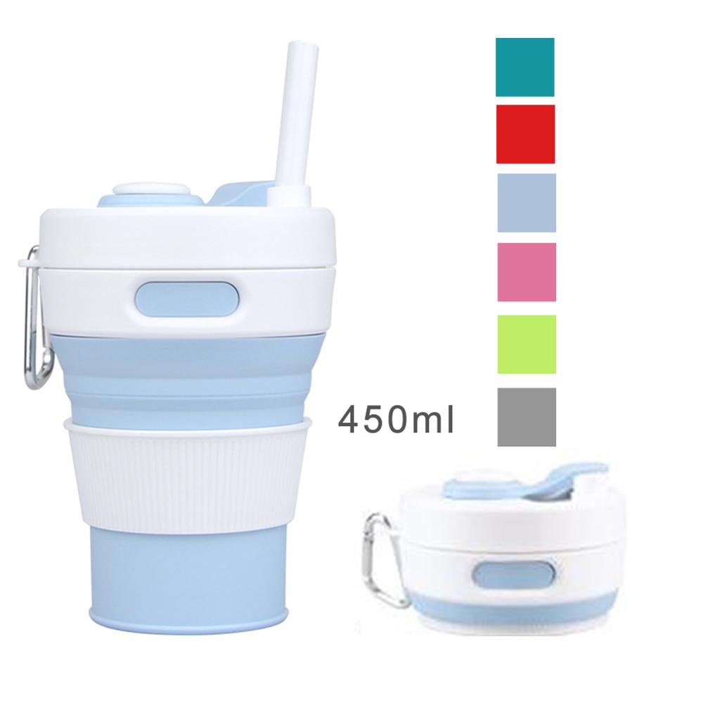 450ml Silicone Collapsible Cup Foldable Travel Coffee Mug Coffee Cup with Leak-proof Lid and Straw for Travel Hiking Picnic