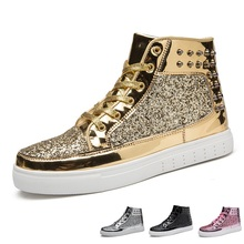 Cool Men Women High Top Sneakers Gold Glitter True Sneakers Lace Up Couple