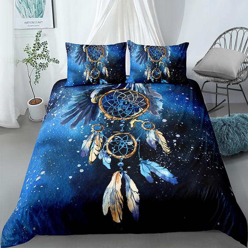 3D Blue Feather Duvet Cover Comforter Covers Pillowcase Dream-catcher Bedding Set Soft Fabric King Twin Queen Size Home Textile