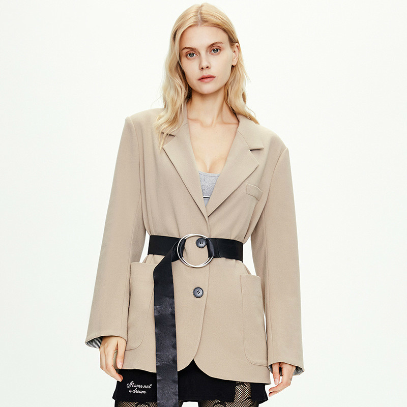 2020 New Style for Autumn and Winter Urban Casual Small Suit Jacket Female European and American Loose Casual Drape Suit Female