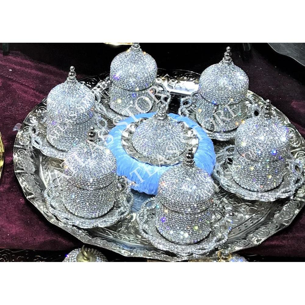 6 Person Coffee Set Crystals  Silver  Color Porcelain With Lid