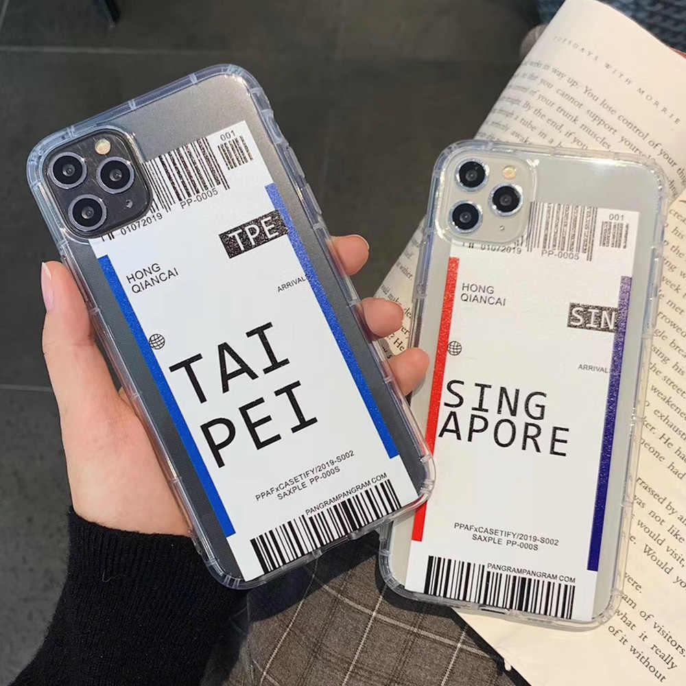 Mode Ticket Label Paare Telefon Fall für iPhone 7 8 Plus X XR XS 11 Pro Max Airbag Drop Prävention transparent Weiche Abdeckung