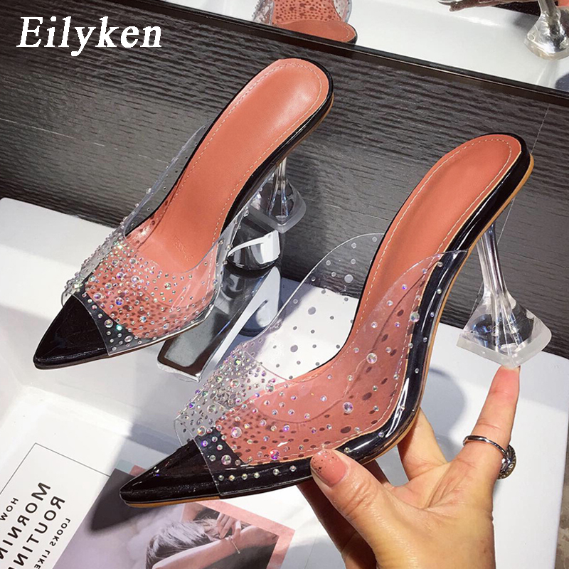 Eilyken Fashion PVC Transparent Rhinestones Women Pumps Sexy Clear Perspex Crystal Spike Heel Slippers Shallow Peep Toe Sandals