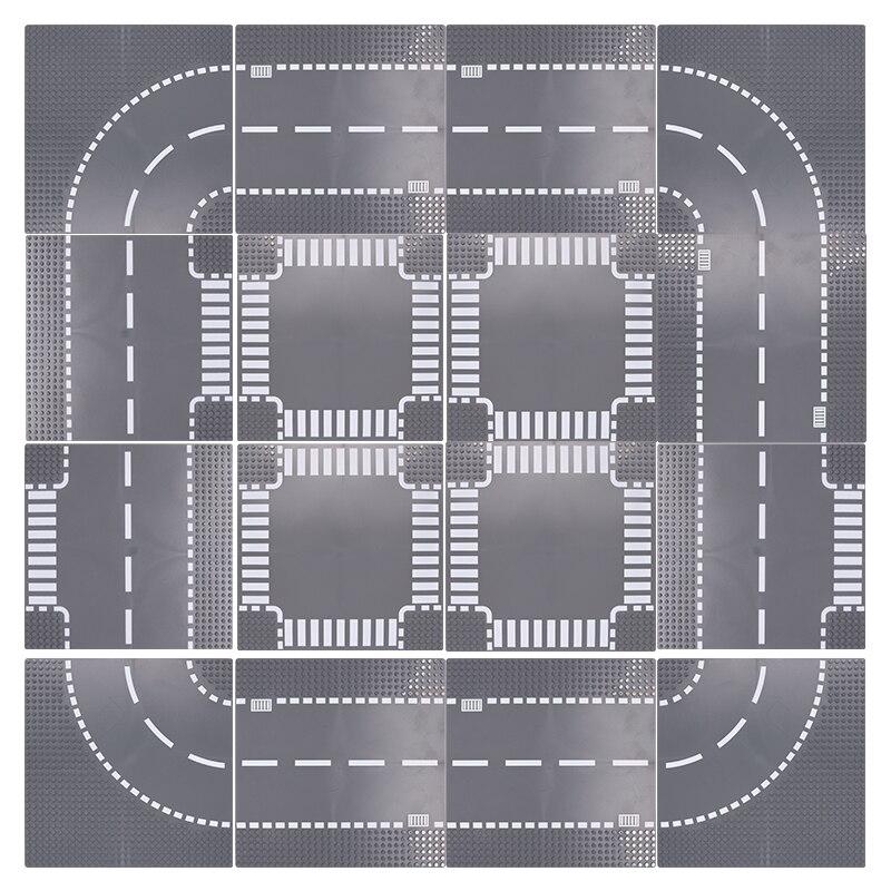 Cidade estrada rua baseplate reta crossroad curva t-junção blocos de construção 7280 7281 clássico cidade base placa brinquedos para crianças
