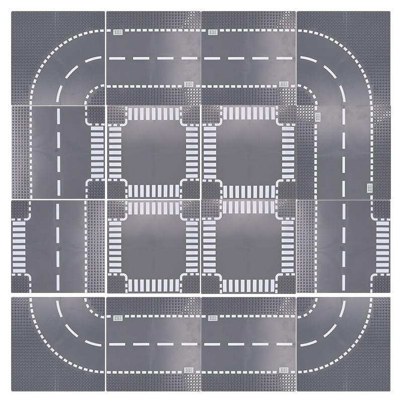 Основание для городской дороги, улицы, прямая кривая перекрестная дорога, Т-образные строительные блоки 7280 7281, Классическая городская Базов...