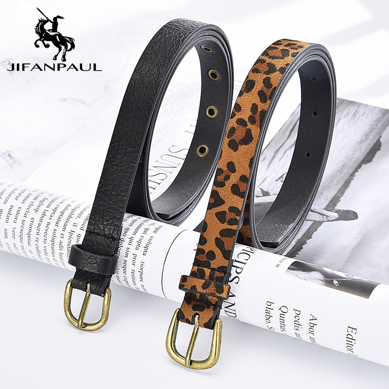 JIFANPAUL  Genuine Leather Ladies Fashion Elegant Pattern Thin Belt High Quality Matching Student Jeans Alloy Pin Buckle Belt