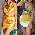 «Вареный» с принтом мини-платье Лето женское сексуальное платье с американской проймой