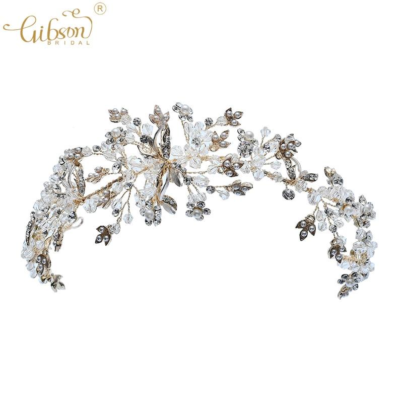 2 x Cute beautiful gold tone pearl hair accessory clip tiara crown star bow