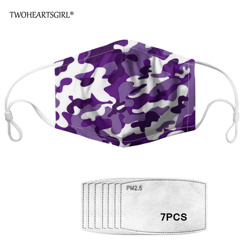 Twoheartsgirl Reusable Camouflage Print Face Mask For Adult Men Women Washable Kids Mouth Mask With 7pcs Filter Anti-dust Masks