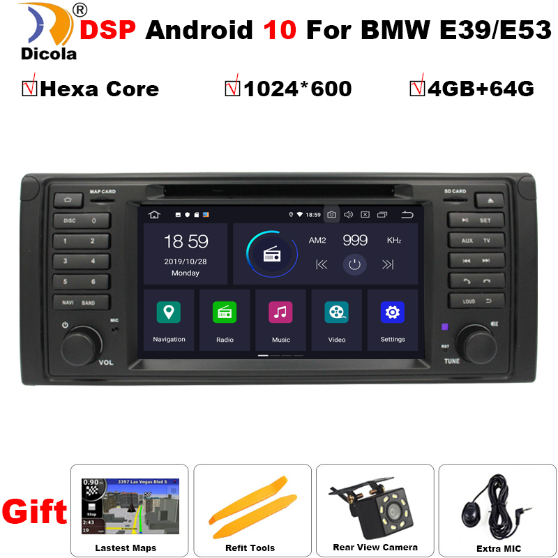 PX6 DSP 1 Din Android 10 Auto Radio For BMW/E39/X5/E53 Hexa Core RAM 4GB + 64GB GPS Car Multimedia Stereo System DSP DVD USB DVR image
