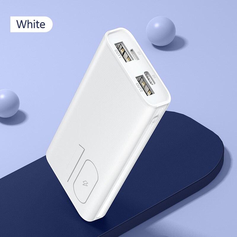 Мощность банка для xiaomi mi iPhone USAMS Мощность банк mi ni 10000 мАч светодио дный Дисплей Dual USB Мощность Bank внешняя Батарея Быстрая зарядка - Цвет: Normal Mini White