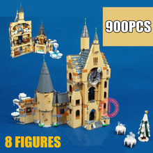 New 900PCS Clock Tower Castle Villa House Fit  Model Potter Figures Building Kits Blocks Bricks 75948 Kid Toy Gift new movie potter great wall house fit legoings castle figures building blocks bricks model kid toys children kid gift birthday