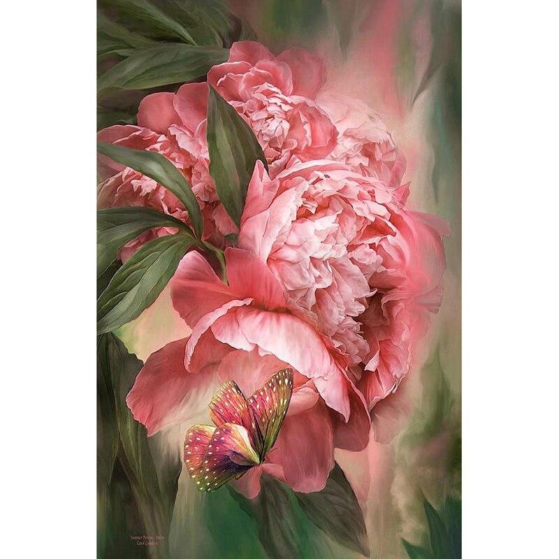 5D алмазная картина 2020 цветы Пион Гортензия картины бабочки романтическая Алмазная вышивка стежка квадратный DIY мозаика украшение для дома ...