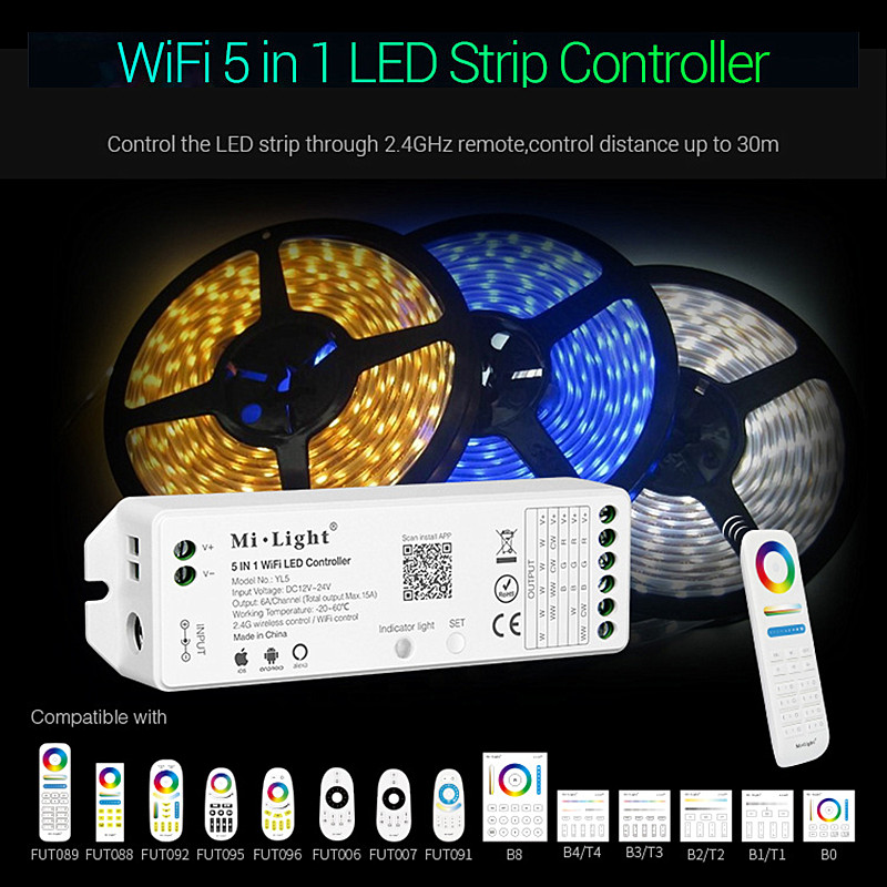 Milight YL5 5 en 1 Controlador LED WIFI, MiBoxer Amazon, aplicación remota de voz de teléfono Alexa para RGB RGBW RGB + CCT cinta de LED de único Color Panel táctil B8 montado en la pared; Atenuador RF remoto FUT089 de 8 zonas; Controlador led inteligente LS2 5 en 1 para RGB + CCT, tira led Miboxer