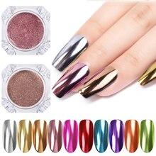 Зеркало для ногтей Блестящий Порошок металлический цвет УФ-гель для дизайна ногтей Полировка хромированные хлопья пигмент пыль украшения Маникюр