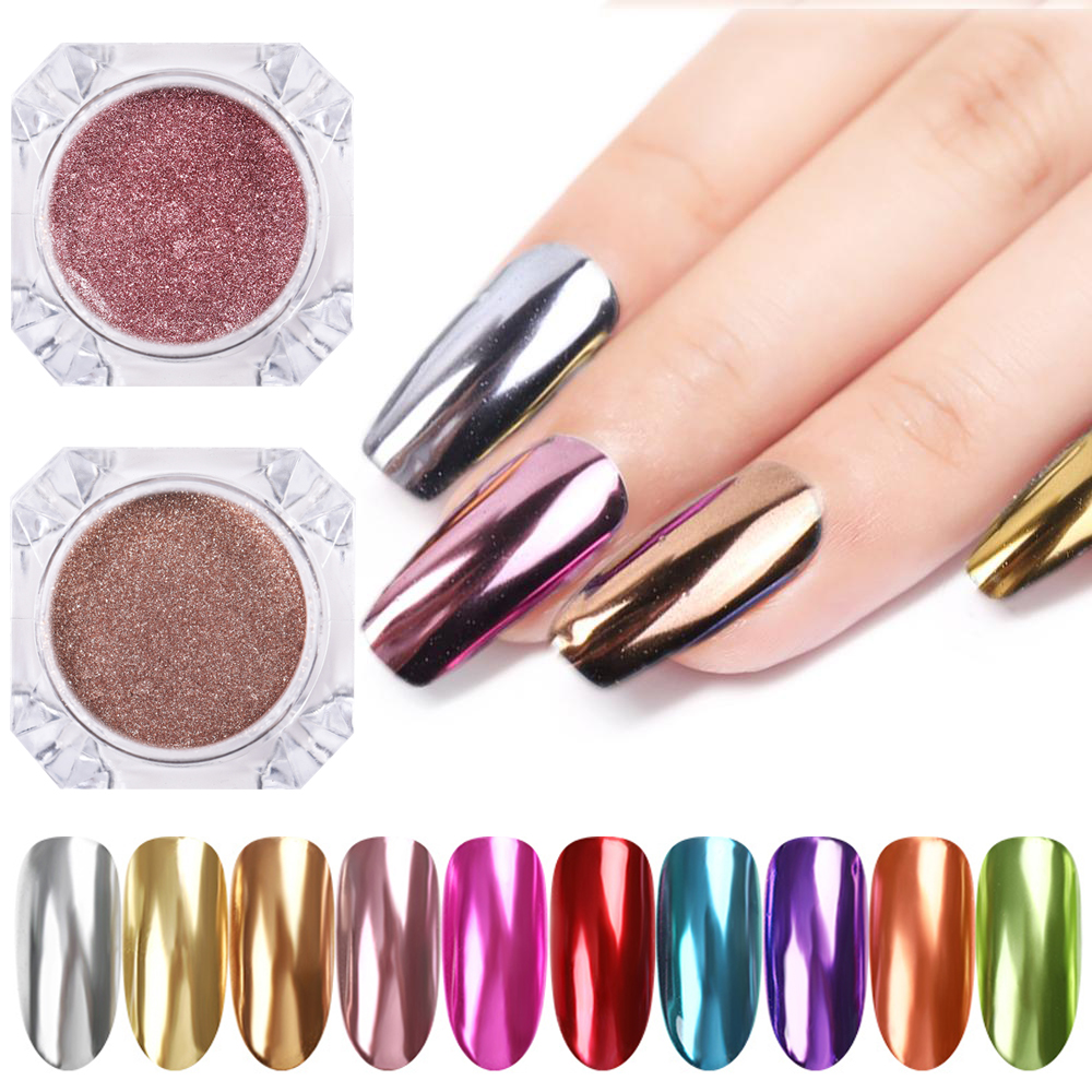 Nail Mirror Glitter Powder Metallic Color Nail Art UV Gel Polishing Chrome Flakes Pigment Dust Decorations