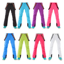 GSOU зимние женские лыжные штаны, уличные толстые теплые водонепроницаемые ветрозащитные дышащие штаны, одноцветные зимние спортивные штаны для сноубординга