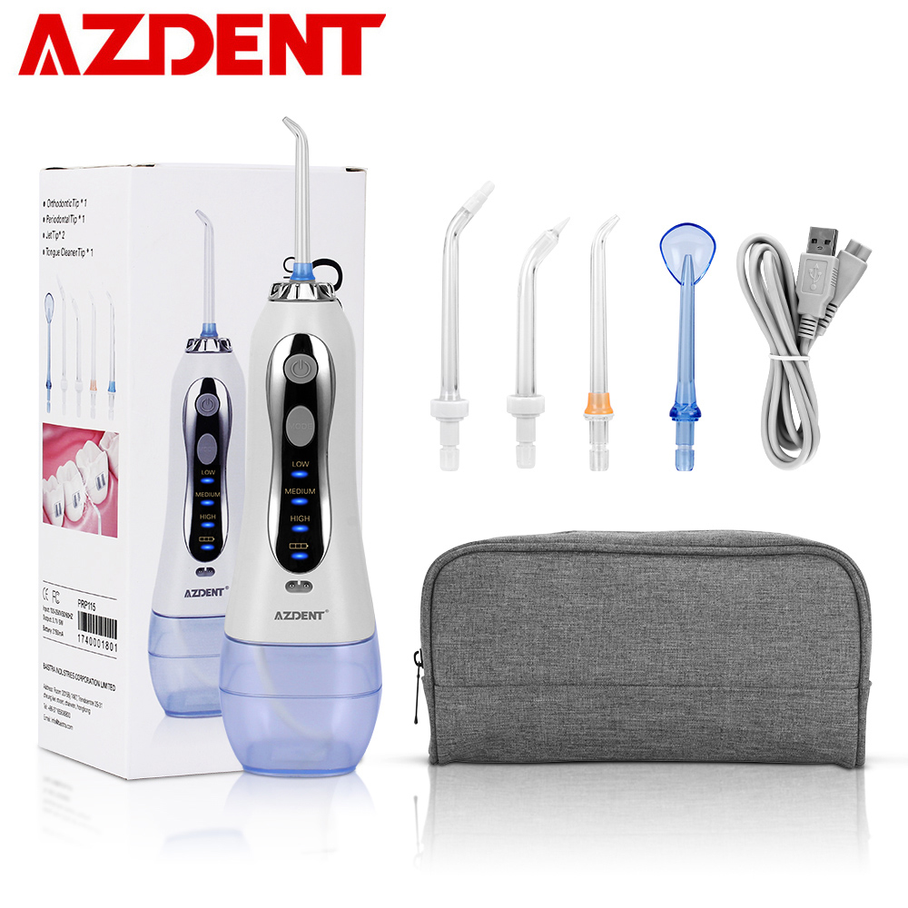 AZDENT HF-5 Electric Oral Irrigator With Travel Bag Cordless Portable Water Dental Flosser USB Charging 3 Modes 300ml+5 Jet Tips