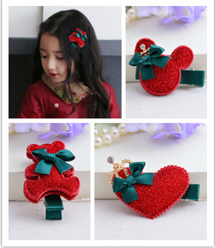 2017 New arrival Fabrics cartoon bears hairpins Xmas red heart hair clips girls new year gift children accessories