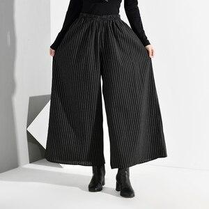 Image 4 - EAM pantalones de pierna ancha a rayas largo para mujer, pantalón negro, cintura alta elástica, corte holgado, moda, Primavera, Otoño, 2020, SA9550
