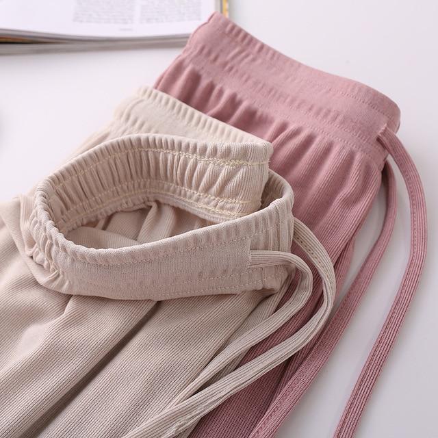 2021 New Women's Loose Summer Pants Soft Ice Silk Ankle-Length Wide Leg Pants Grey Khaki Women High Waisted long Trousers 6