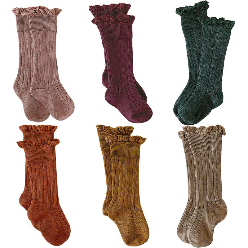 Dropshipping 2019 Baby Calcetines Kids Socks Toddlers Girls Knee-Highs Long Socks Soft Cotton Lace Fashionable Children's Socks