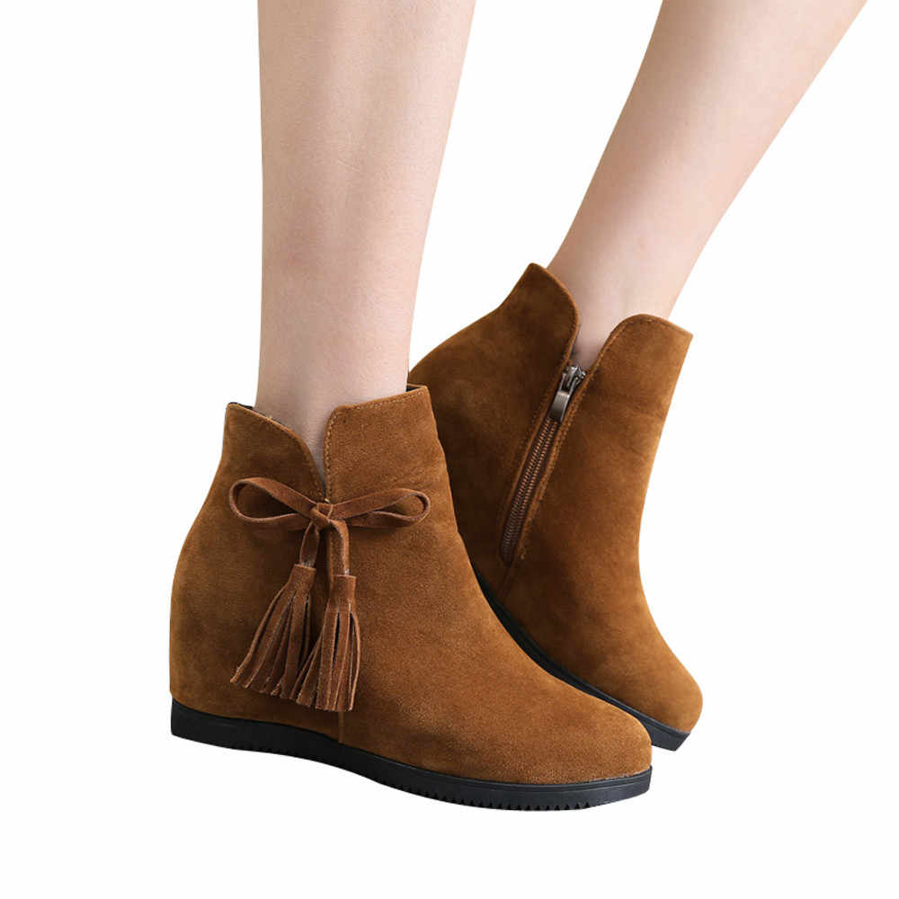 JAYCOSIN รองเท้าผู้หญิง Suede Wedges รองเท้าผู้หญิง 2019 แฟชั่นสีทึบ Zipper พู่รองเท้าผู้หญิง Zapatos De Mujer 1103