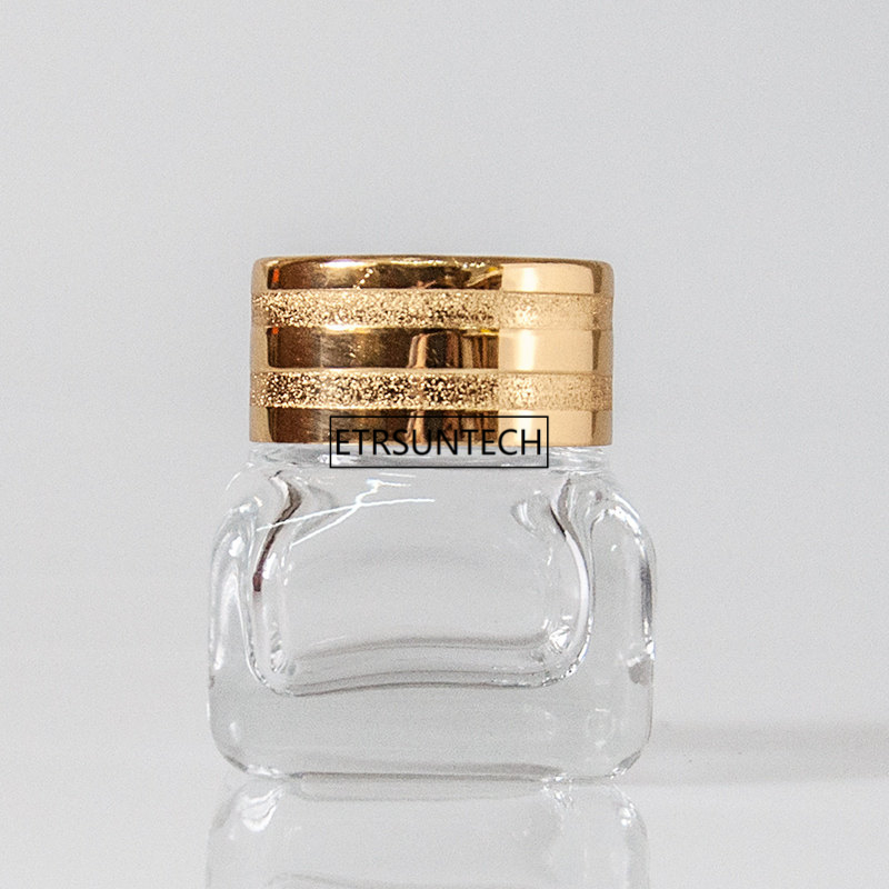 100pcs 10ml Glass Cream Jar With Gold Lid,Women Cosmetic Eye Cream Container Small Pot Eyeshadow Vial F3750