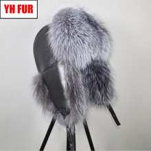 New Men Outdoor Windproof Winter Natural Real Fox Fur Bombers Hats Quality Raccoon Fur Cap Man Luxury Real Sheepskin Leather Hat cheap Adult Solid Bomber Hats YH FUR-9224 100 natural real sheepskin leather 100 natural real fox fur Adjustable fit for everyone