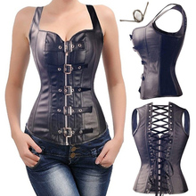 Women Bustier Steampunk Plus Size Faux Leather Corset Tops Steel Boned Gothic Waist Cincher Vest
