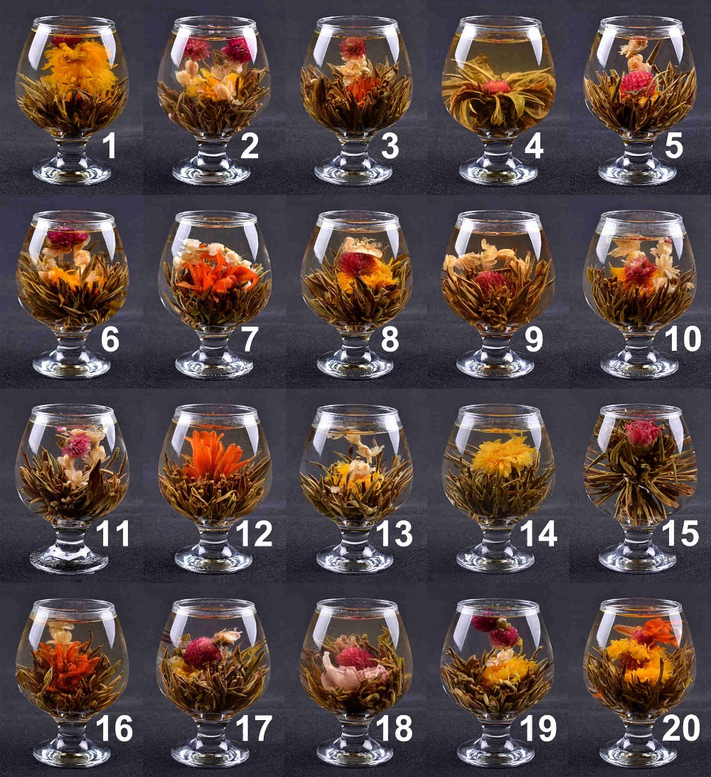 China Blooming Tea Green Tea Ball Artistic Blossom Flowers Tea 20 Pieces 20 Kinds Chinese Blooming Flower Tea