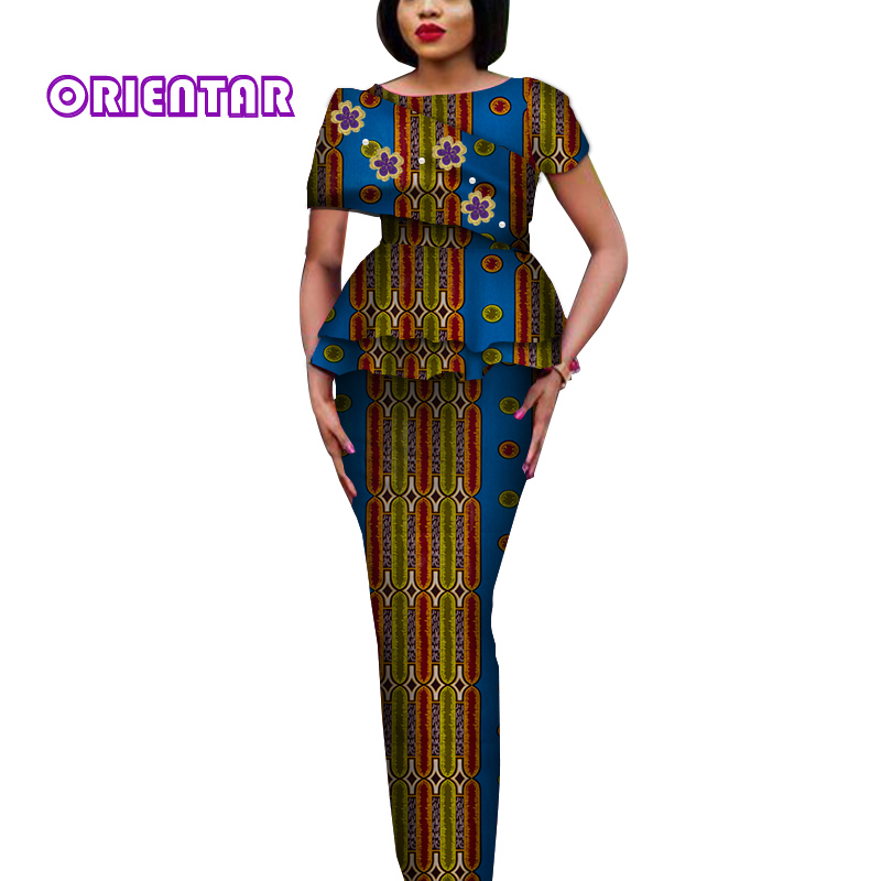 Fashion African Clothes For Women Elegant Tops And Long Skirts African Print Bazin Riche Women Suit 2 Piece Set Skirt Set WY3788