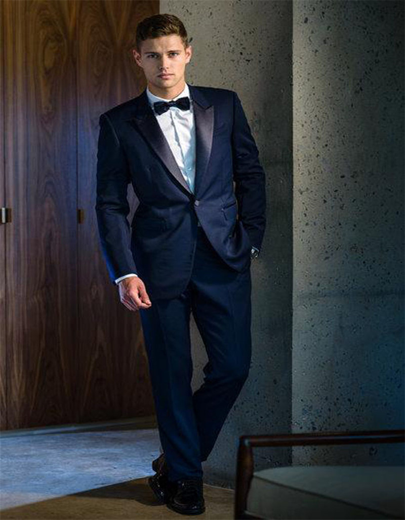 Elegant Dark Blue Mens Slim Wedding Tuxedos Tailor Made Bridegroom Party Suits Business Office Suit (Jacket+Pant)