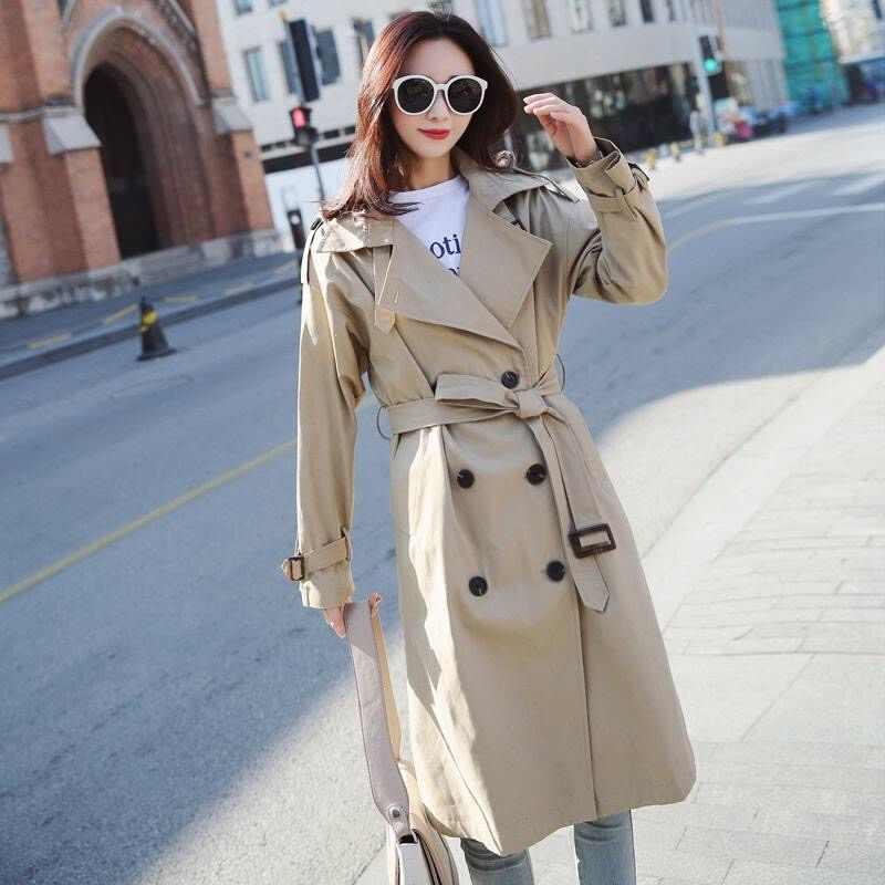 خندق معطف للنساء حجم كبير مع حزام الملابس الكورية مزدوجة الصدر زر سترة واقية منفضة المرأة الخريف 2019 معطف طويل