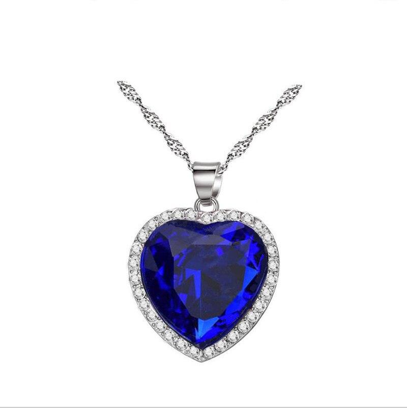 Женское ожерелье Титаник, сердце of the Ocean, голубое романтическое ожерелье с подвеской-цепочкой из кубического циркония, модные свадебные укр...