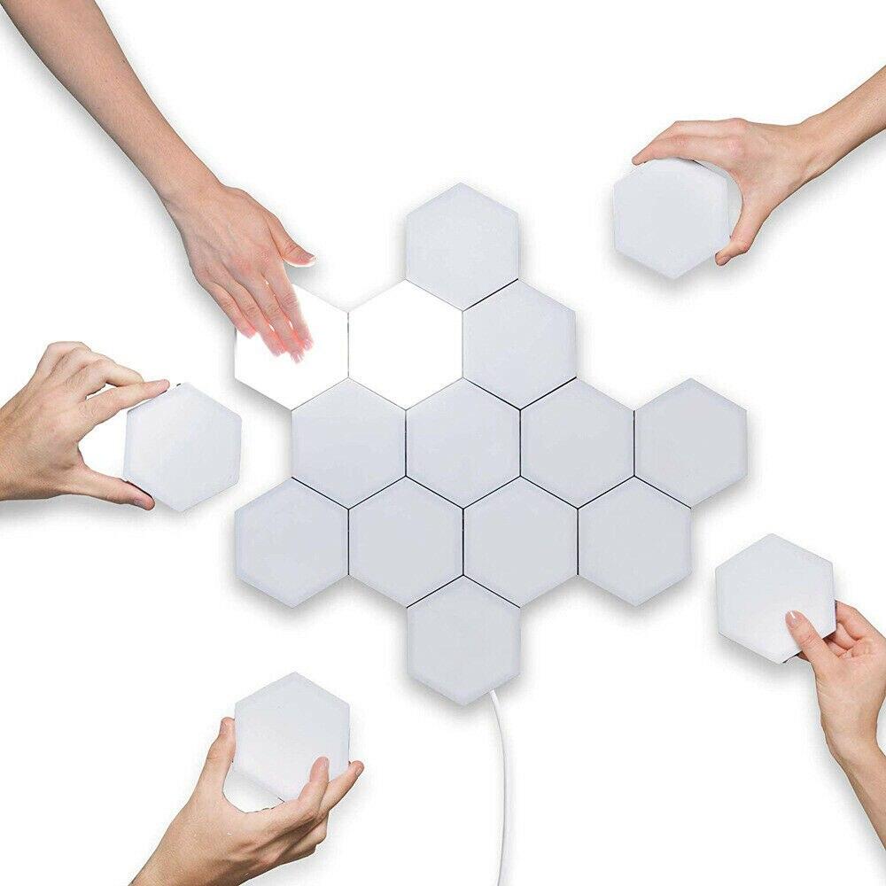 10 pièces LED nid d'abeille allée tactile capteur lumière moderne sensible mur lumières 2020 nouveau créatif Hexagonal magnétique carreaux Design lampe