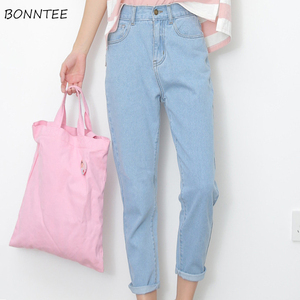 Image 1 - Kot Kadınlar Yaz Yüksek Bel Düz Ince Kore Tarzı Bayan Streetwear Kadın Fermuarlı Cepler Basit Tüm Maç Şık Pantolon