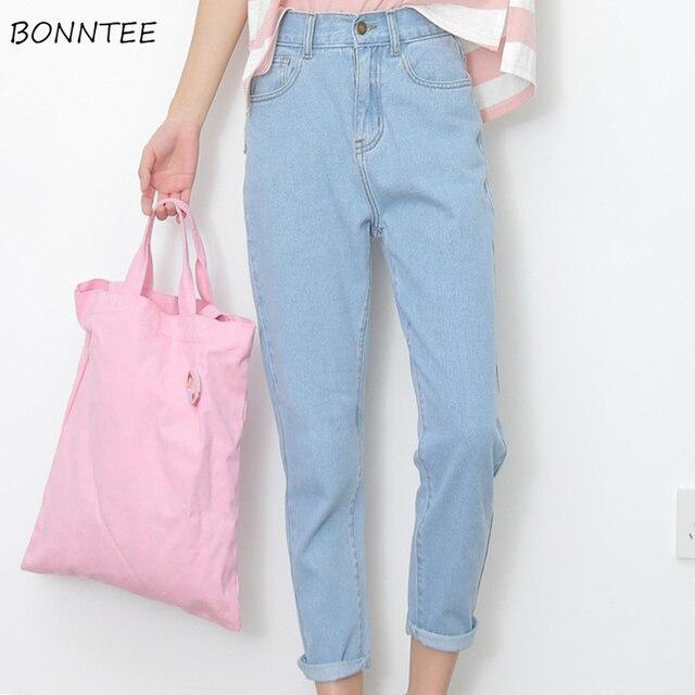 ג ינס נשים קיץ גבוה מותניים ישר Slim קוריאני סגנון נשים Streetwear נשי רוכסן כיסים פשוט כל התאמה שיק מכנסיים