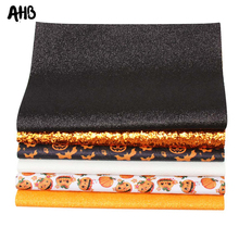 AHB 22*30cm Halloween Faux Leather Pumpink Bat Printed Synthetic Leather Glitter Fabric for DIY Hair Bow Bags Material 6pcs/set 6pcs 20x22cm shinny glitter fabric diy sewing patchwork faux leather upholstery fabric hnadicarft diy bow accessories material