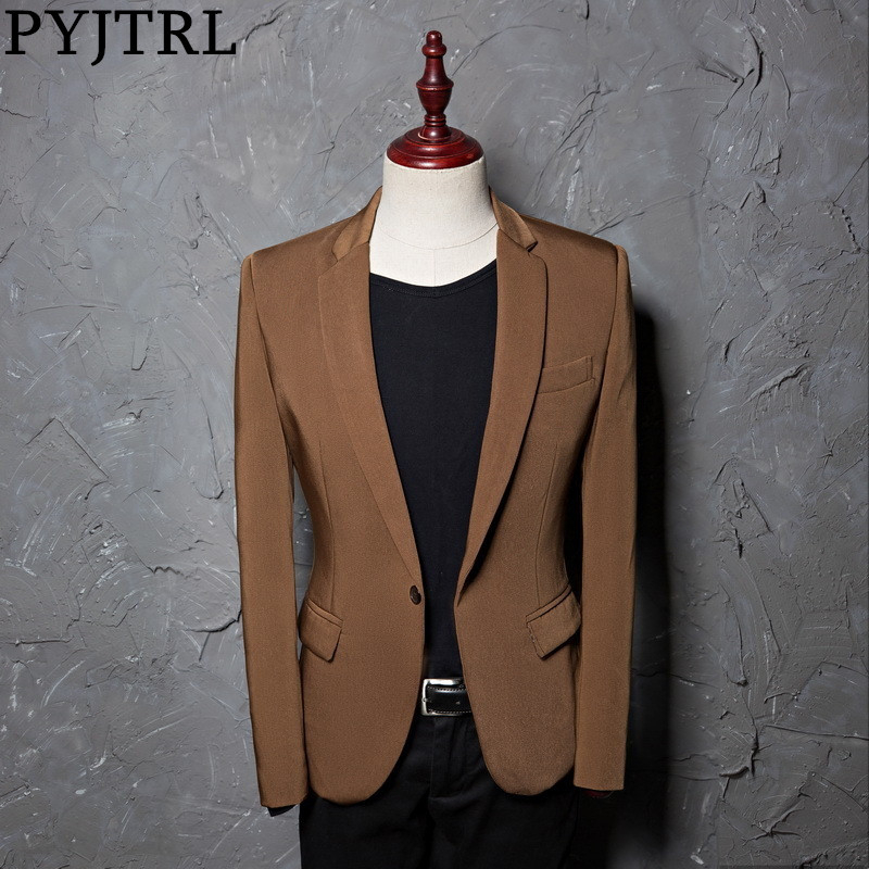 PYJTRL Brand Fashion Casual Leisure Brown Suit Jacket Coat Men Blazer Slim Fit Designs Masculino Stage Costumes For Singers