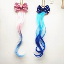 Новые блестки девушки прекрасный градиент Красочные парики бант шпильки принцесса украшение ободок заколки для волос Дети волосы Acces