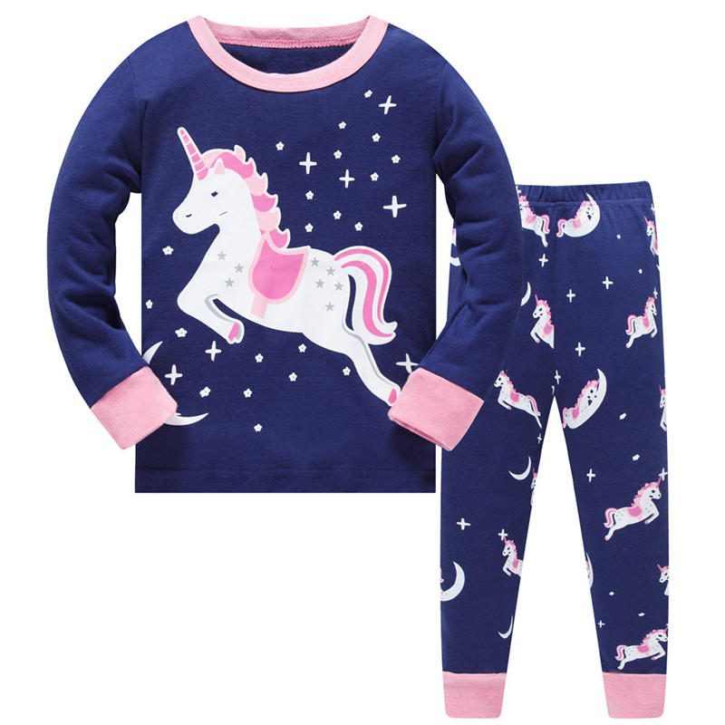 Pajamas for Girls Little Kids Long Sleeve Clothes Set Toddler Children Horse Sleepwear 2-8T Pink