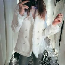 купить Boho Inspired woolen white Tweed jacket blazer high fashion fringe hem jacket Women 2019 winter ladies Breasted coat jacket по цене 2498.45 рублей