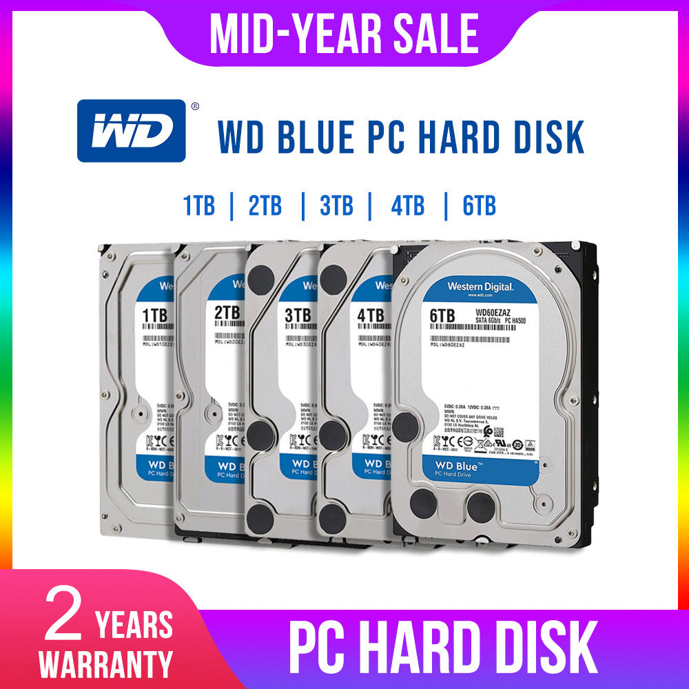 WD 4TB HDD Desktop-Hdd Hard-Disk 3TB Sata Internal Blue 2TB Dur 1TB for PC Digital Disque